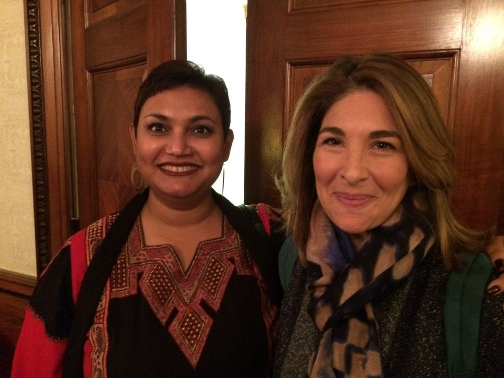 Dr. Farhana Sultana with Naomi Klein, famous author & activist, at Syracuse University, 2015