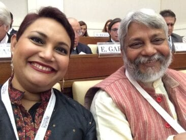 Dr. Farhana Sultana with Rajendra Singh, Stockholm Water Prize recipient, at The Vatican, 2017