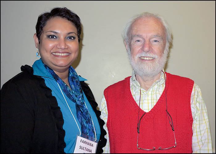 Dr. Farhana Sultana with Dr. David Harvey, renowned geographer, at Syracuse University, 2014