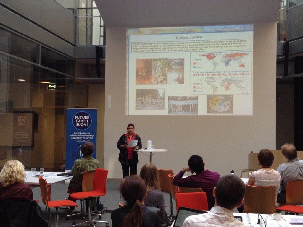 Dr. Farhana Sultana delivering a Keynote Speech at the University of Helsinki, Finland, 2016
