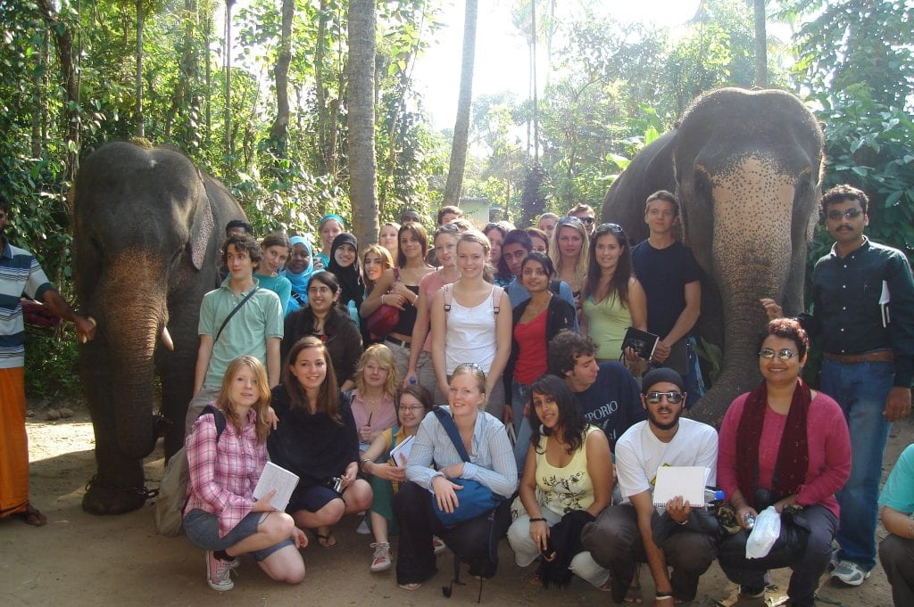 Dr. Farhana Sultana and students of King's College London on a field course, Kerala, India, 2006