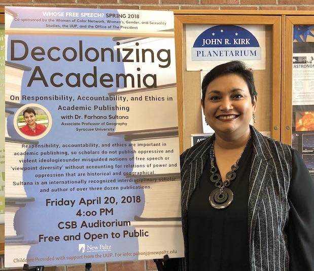 Dr. Farhana Sultana as the Keynote Speaker on Free Speech and Decolonizing Academia, SUNY New Paltz, 2018
