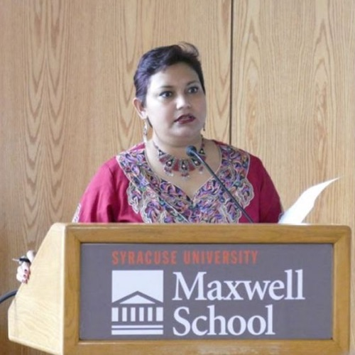 Dr. Farhana Sultana speaking at a Maxwell School event, 2016